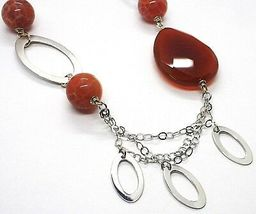 Necklace Silver 925, Carnelian Red Drop, Agate Maculata, Ovals Hanging image 3