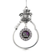 Inspired Silver Rett Syndrome Circle Snowman Holiday Christmas Tree Ornament Wit - $14.69