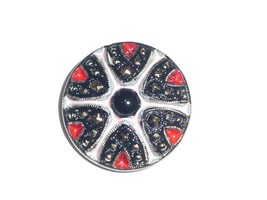 Gorgeous Fancy Czech Glass Button 27mm Pink, Red, & Black, w/ Gold finish - $5.44