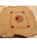 Beige Red Blue Flower Print Finished Needlepoint Cover / Upholstery Seat - $9.95