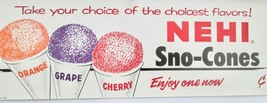 Nehi soda Sno-Cones paper window sign mint unused circa 1950's-60's - $65.00
