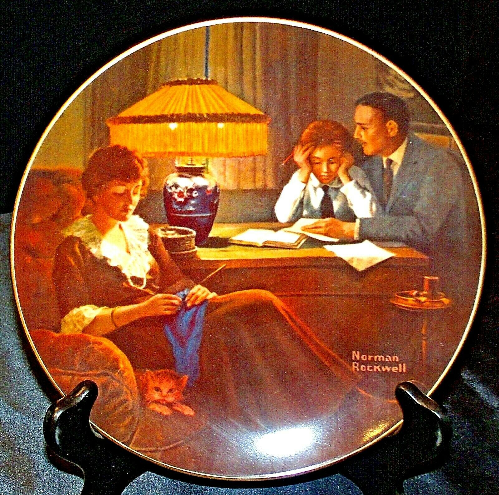 """1983 """"Father's Help"""" by Norman Rockwell Plate with Box ( Knowles ) AA20-CP2189 V"""