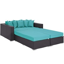 Convene 4 Piece Outdoor Patio Daybed Espresso Turquoise EEI-2160-EXP-TRQ... - $2,043.00