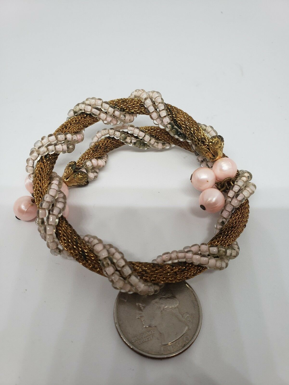 Womens Vintage 1950s Gold Toned Mesh Bracelet/Bangel Pink Cotton Beads