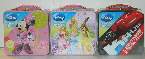 Walt Disney Character Mix Sticker Carry All Tin Tote Lunchboxes Set of 3 SEALED