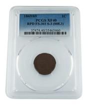 1869/69 1c Cabeza de Indio Centavo Graded por Calidad como Xf40! RPD Fs-301 S-3 - $822.31