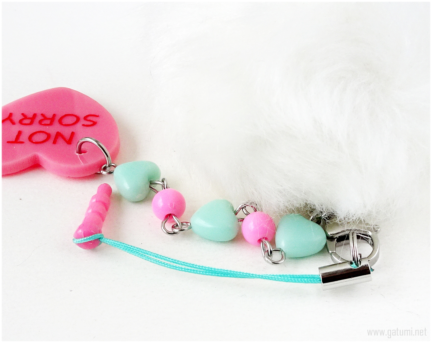 Not Sorry Pastel Goth Phone Charm Plug with Pom Pom, Kawaii, Jfashion
