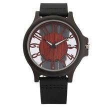 Mens Watch Vintage Wooden Watch Walnut  Surface Transparent Dial Clock Male Casu - $46.22