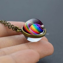 2019 New Glass Ball Galaxy Double Sided Pendant Necklace Universe Planet... - $13.39