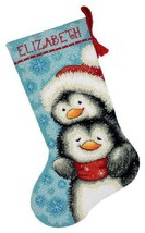 Dimensions Needlepoint Hugging Penguins Personalized Christmas Stocking ... - $32.66