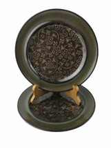 """2 Vintage Franciscan Earthenware Madeira Brown Green Glaze 8.5"""" Salad Pl... - $13.96"""