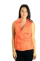Size S Jones New York Bright Orange Sleeveless Collared Top w/Side Zip C... - $29.70