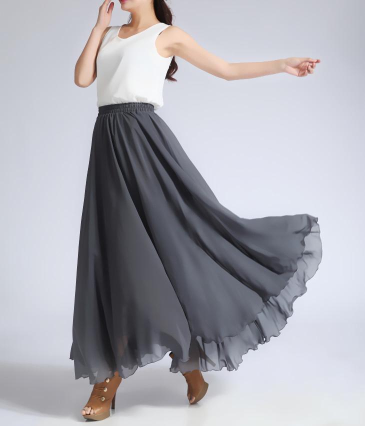 Chiffon skirt gray 3