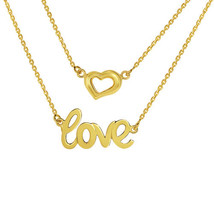 14k Yellow Gold 2 Chain Line Love and Heart Charm Necklace - $269.00