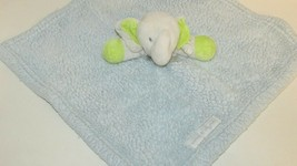 Blue Sherpa gray green elephant FLAWED baby security blanket Blankets & ... - $4.94