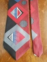 Zylos George Machado Red Grey Black Blue Abstract Mens Necktie Tie 100% ... - $10.83