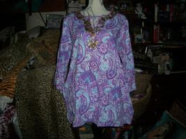MANAN Beautiful Violet Copper Embellished Beaded Boho Tunic Size 2 - $21.78