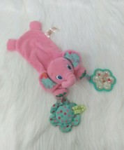 Bright Starts Pink Elephant Rattle Lovey & Security Blanket Plush Baby Toy B57 - $9.97