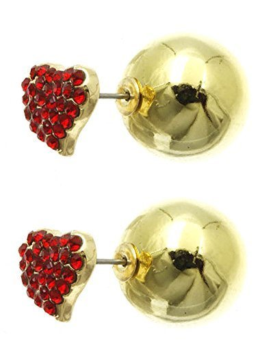 Rhinestone Heart Ball Earrings - Double Sided (Red Goldtone)
