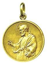 SOLID 18K YELLOW GOLD ROUND MEDAL, SAINT PETER, PIETRO, DIAMETER 17mm image 1
