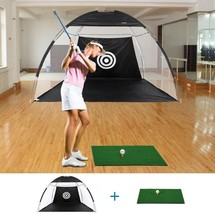Training Tent Golf Net Mat Practice Skills Hitting Driving Hit Cage Carr... - $79.10