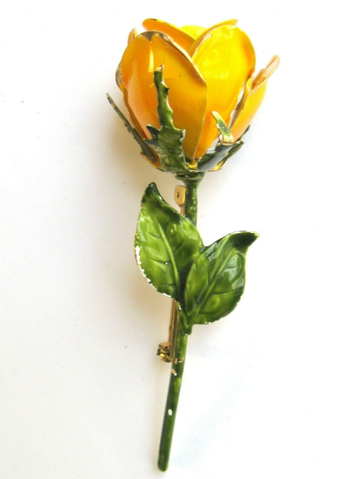 Primary image for Vintage Brass Metal Enameled Yellow Rose Pin