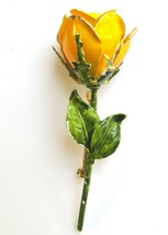 Vintage Brass Metal Enameled Yellow Rose Pin - $11.40