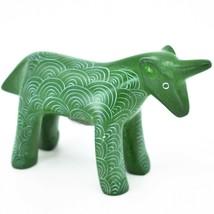 Vaneal Group Hand Carved Kisii Soapstone Green Unicorn Figurine Made in Kenya