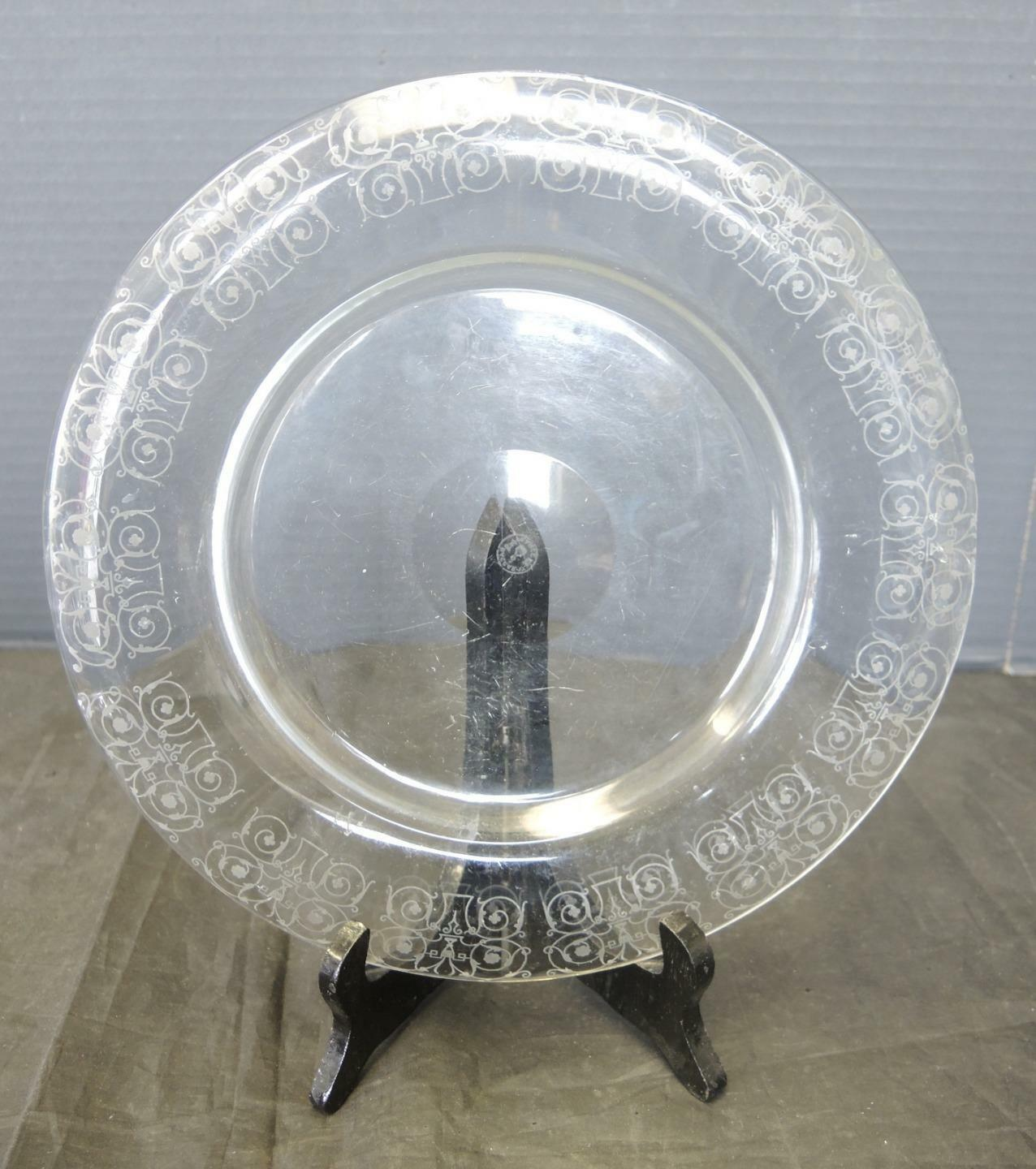 Primary image for Vintage Etched Glass French Baccarat Michelangelo Crystal Rolled Rim Plate