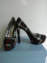 Prada Platform Pumps Tartan Black Gray Red Plaid High Heel $750 NIB 39.5 - $286.11