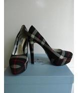 Prada Platform Pumps Tartan Black Gray Red Plaid High Heel $750 NIB 39.5 - $286.11