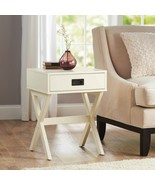 Cream Campaign Style End Table Nightstand Storage Drawer Wood Contempora... - $74.67