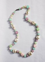 """Vintage Chunky Beaded Necklace Pastel Colors 28"""" Long Pink Green Cream B... - $11.52"""