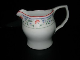 Gibson White with Red, Green & Blue Floral Design Ceramic Pitcher Creamer  - $15.83