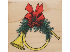 Hero Arts 1989 Christmas Horn Wood Mounted Rubber Stamp #F158