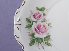 Vintage Queen Anne English Bone China pink white rose cake plate, servin... - $38.61