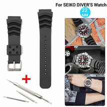 Watch Band Black Replacement Strap Bracelet Part Wristband Wave Vent For SEIKO - $7.53