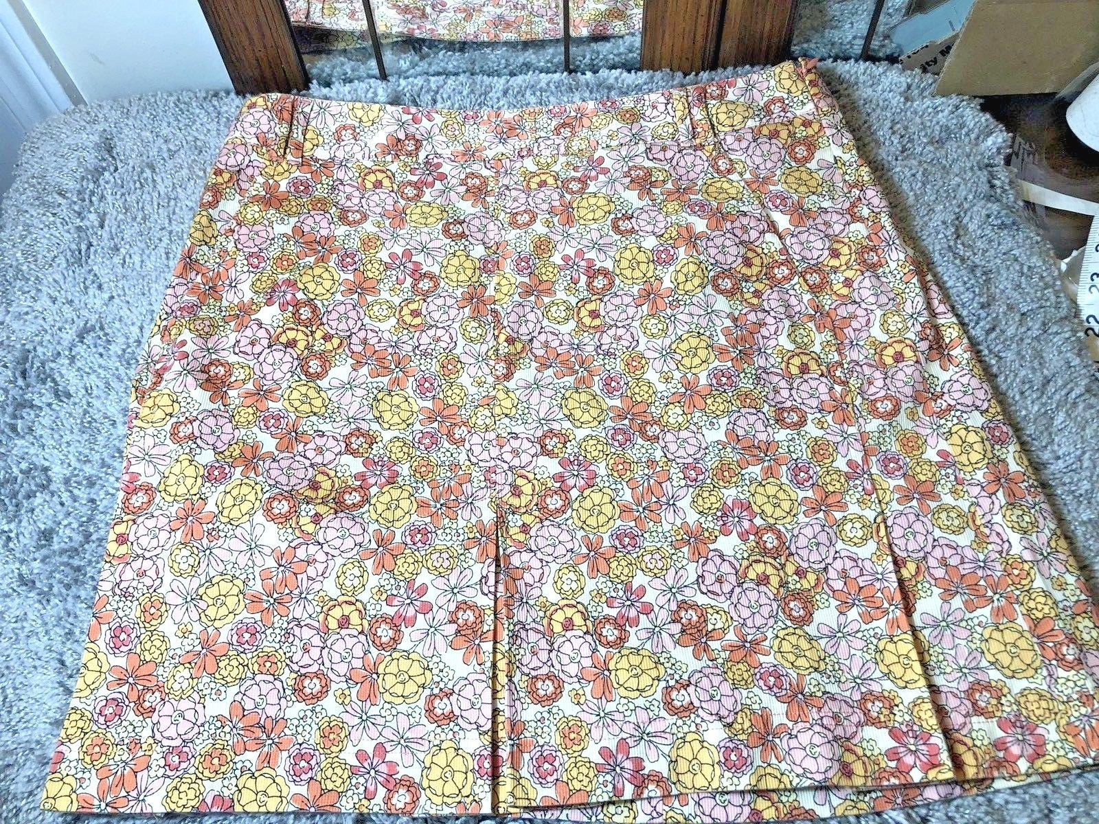 Ann Taylor LOFT Womens Floral Skirt Size 8 Orange & Pink Floral Print Cotton