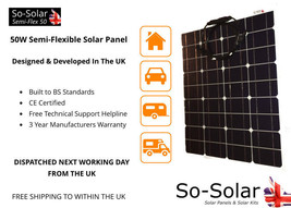 Solar Panel 50W, Semi-Flexible, 3 Year Manufacturers Warranty - $104.57
