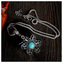 Turquoise Flower Pendant Necklace With Chain, Antique Silver Vintage Style - $3.99