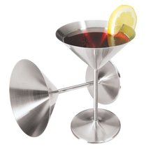 Oggi 8-Ounce Stainless Steel Martini Goblets, Set of 2 - $19.95