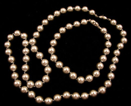 "Signed Monet Vintage Metallic Silver Pearl Bracelet Necklace Set *20""-8""... - $49.49"