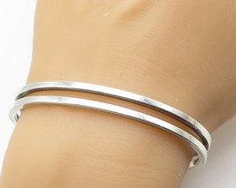 MEXICO 925 Sterling Silver - Shiny Smooth Split Band Cuff Bracelet - B4029 - $108.96