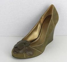 Bcbg Generazione Donna Scarpe Tacco con Zeppa Camoscio Verde Oliva Fiori Size - $21.14