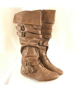 Forever Womens Boots Faux Leather Strappy Cuffed Slouchy Zipper Brown Si... - $38.69
