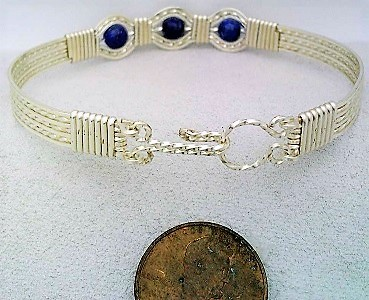 Lapis Silver Wire Wrap Bracelet Sz. 7.5