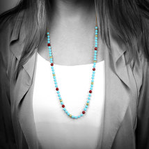 Turquoise necklace,beaded necklace,gold necklace,jade necklace,knotted n... - $79.00+