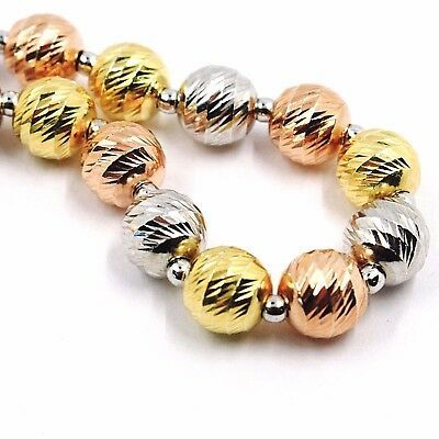Silver 925 Bracelet, Yellow, White and Rose Gold Ball Faceted, Diameter 8 MM