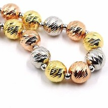 Silver 925 Bracelet, Yellow, White and Rose Gold Ball Faceted, Diameter 8 MM image 1