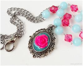 Rose Necklace, Aqua Blue and Fuchsia, Stainless Steel Chain, Beaded - Ka... - $20.00